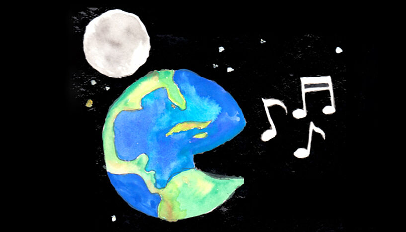 Illustration of a singing earth.